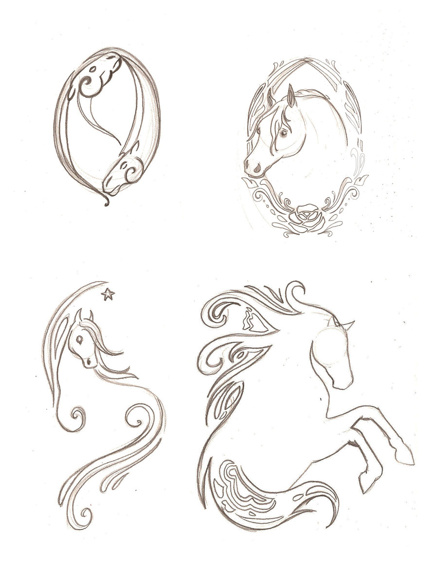 Incredible Horse Tattoo Sketches For Boys