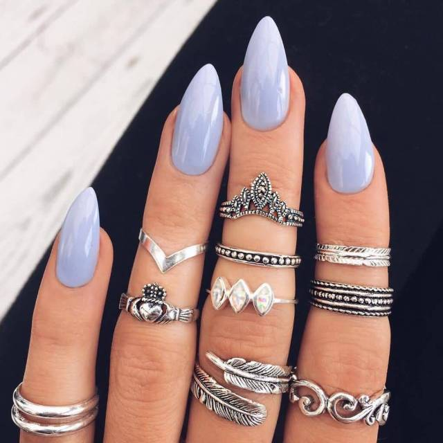 Incredible Sky Blue Color Almond Shaped Acrylic Nail Art