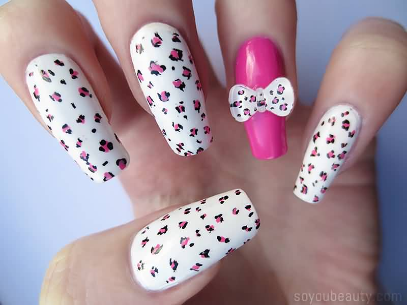 Incredible White Paint And Pink Dotted Art 3D Nail Art
