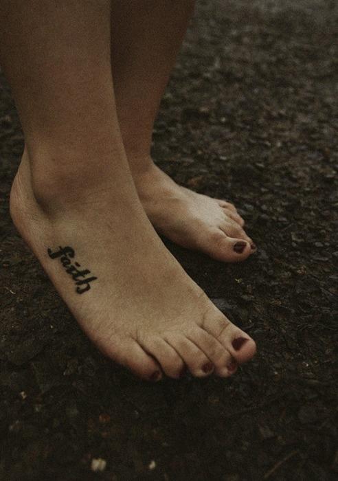 Innovative Faith Foot Tattoo Design For Girls