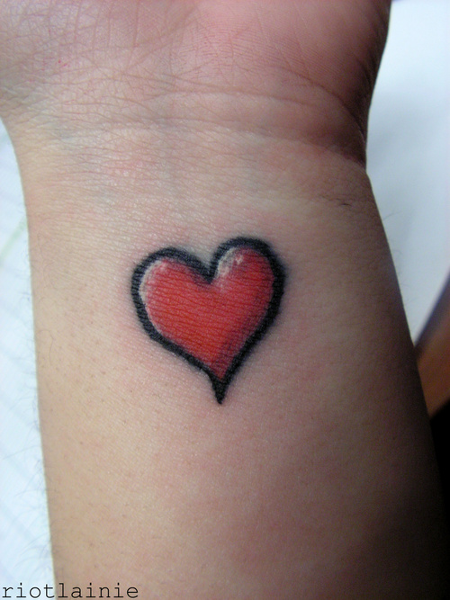 Innovative Heart Feminine Tattoo On Wrist For Boys