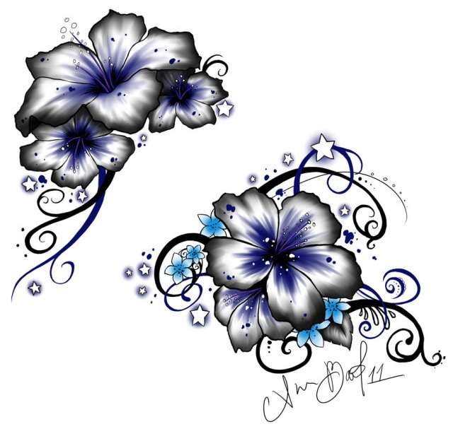 Innovative Hibiscus Flowers Tattoo Design For Girls
