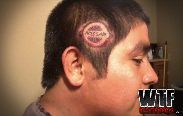 Innovative Nissan Homemade Head Tattoo Design For Boys