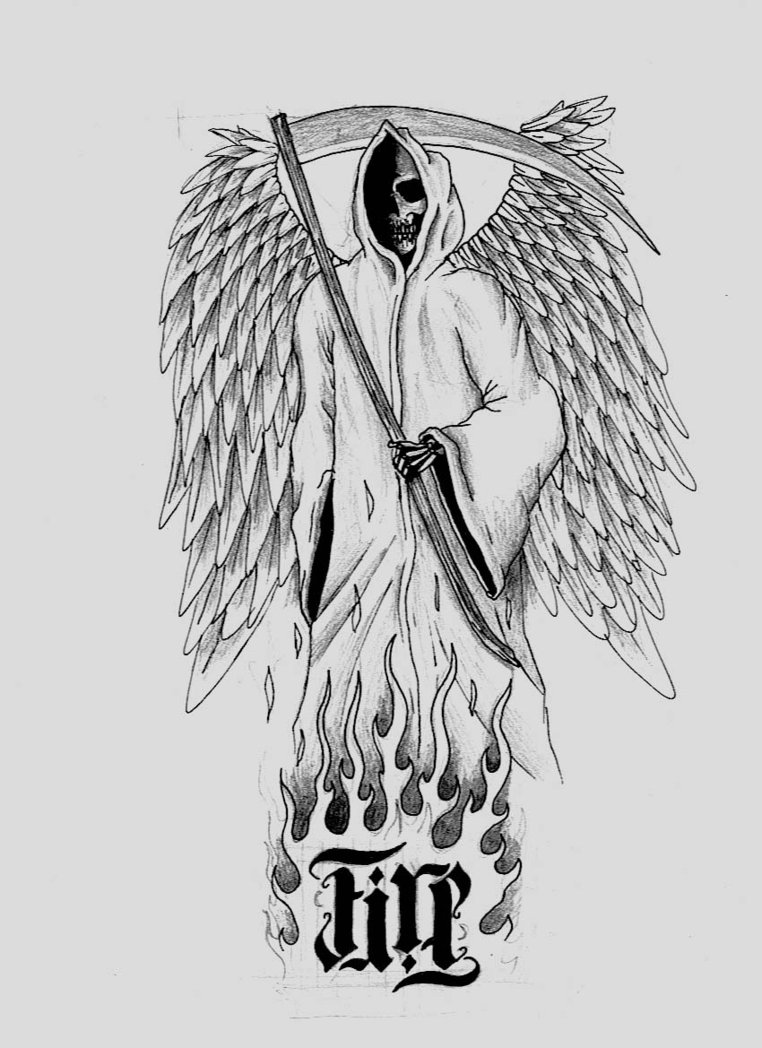 Innovative Winged Grim Reaper Tattoo Design For Boys
