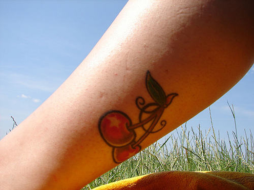 Inspirational Cherry Tattoo Design On Leg Calf For Boys