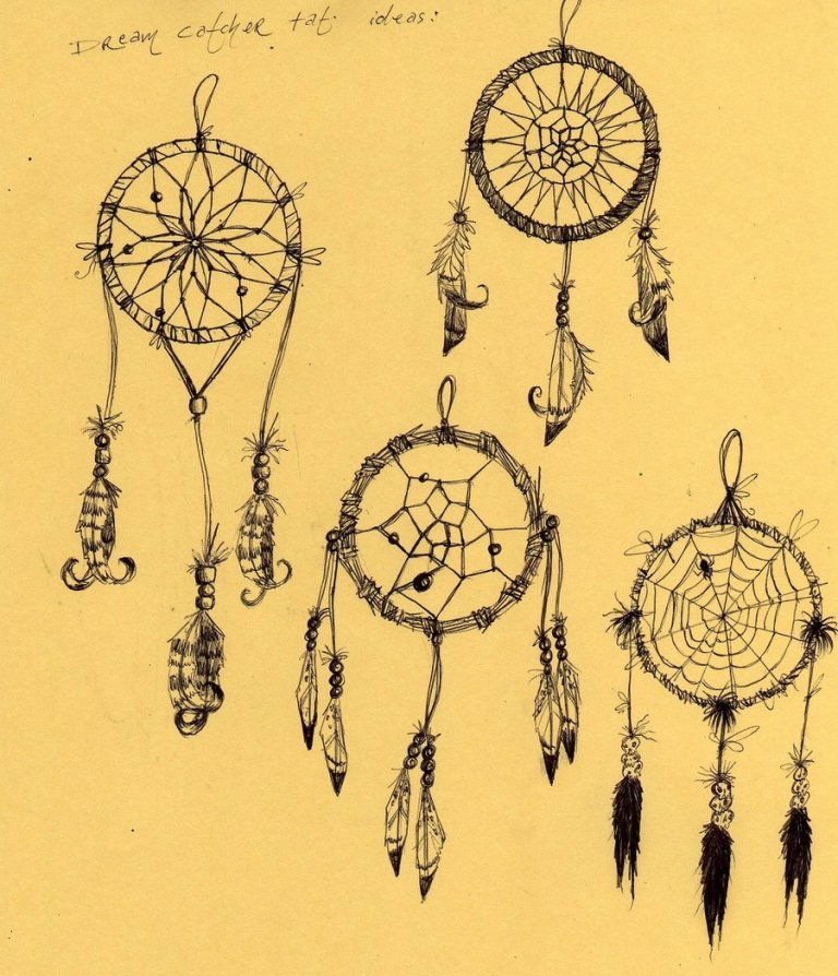 Inspirational Dream Catcher Tattoo Designs On Yellow Background For Girls
