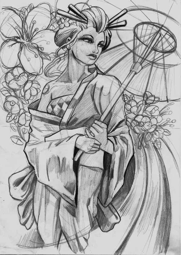 Inspirational Geisha Tattoo Sketch For Boys