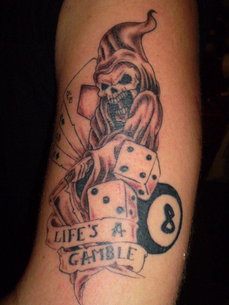 Inspirational Life's A Gamble Joker Dice Tattoo Design For Boys