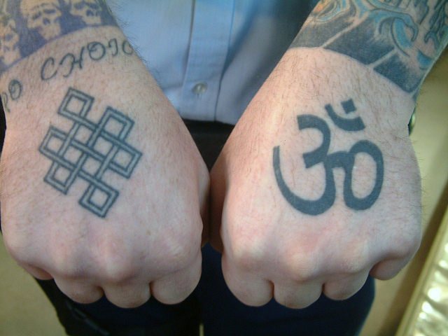Inspirational Om Symbol Tattoo On Left Hand For Boys