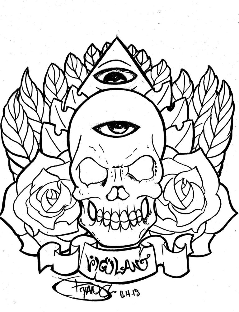 Inspirational Skull Eye Outline Tattoo Design For Girls