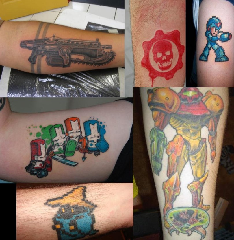 Inspirational Video Game Geek Tattoo Designs For Boys