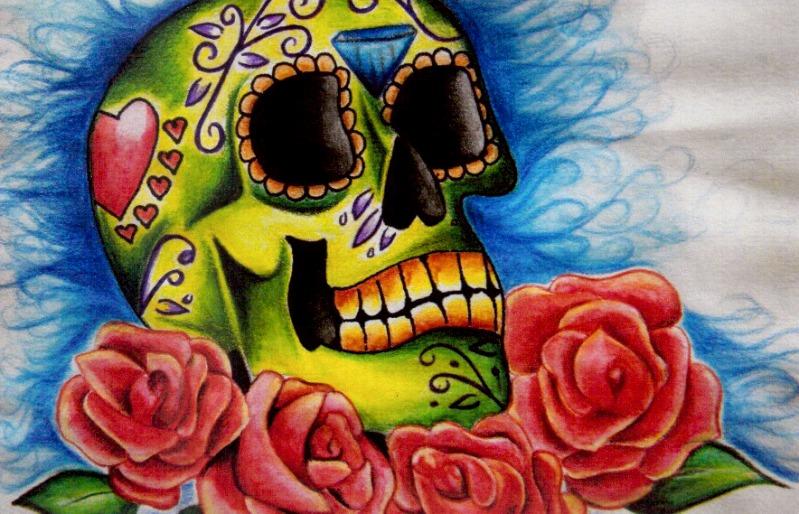 Inspiring Dia De Los Muertos Skull With Roses Tattoo Design For Boys