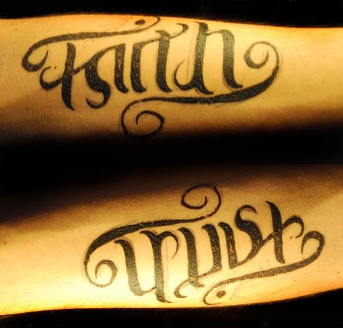 Inspiring Faith & Trust Words Tattoo Design For Girls Faith Tattoos