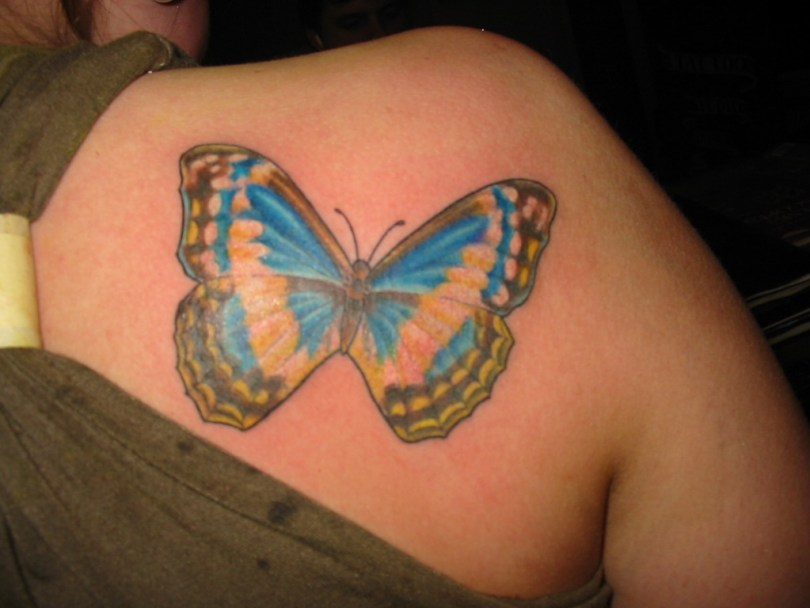 Inspiring Feminine Butterfly Tattoo On Back Of Shoulder For Girls Feminine Tattoos