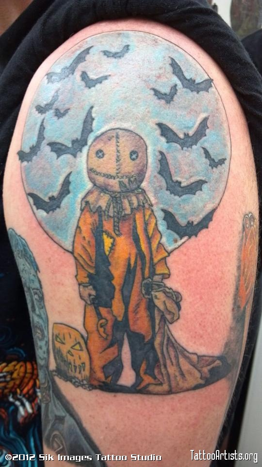 Inspiring Halloween Horror Tattoo Picture On Upper Arm For Boys