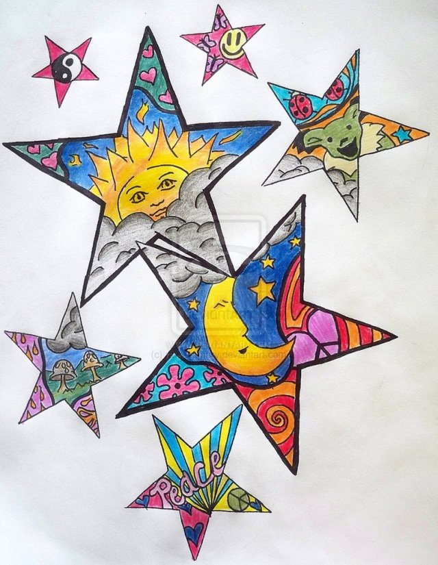 Inspiring Hippie Stars Tattoo Design For Girls