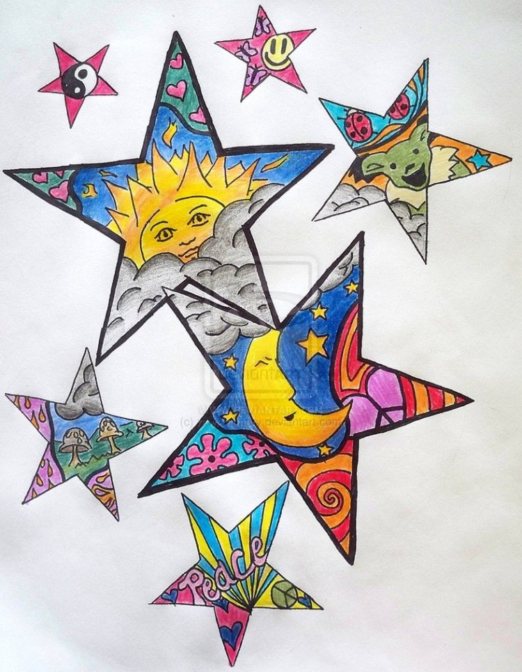 Inspiring Hippie Stars Tattoo Design For Girls