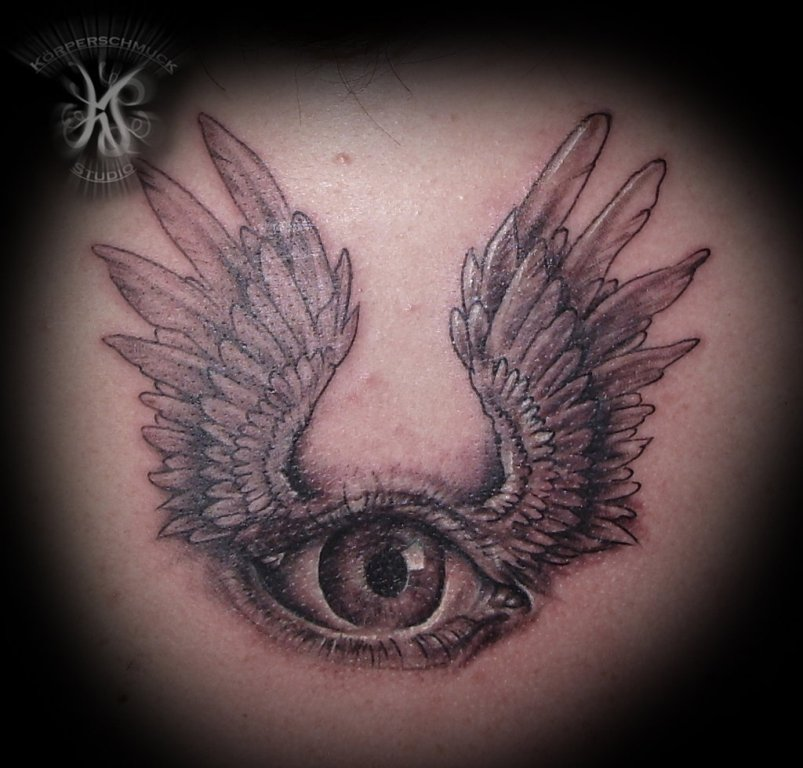 Interesting Winged Eye Tattoo Design For Girls