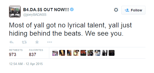 Joey Badass Quotes Most of yall got no lyrical talent yall just hiding behind the beats we see you