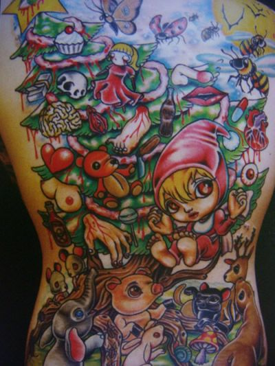 Latest Extreme Tattoo On Full Back For Girls