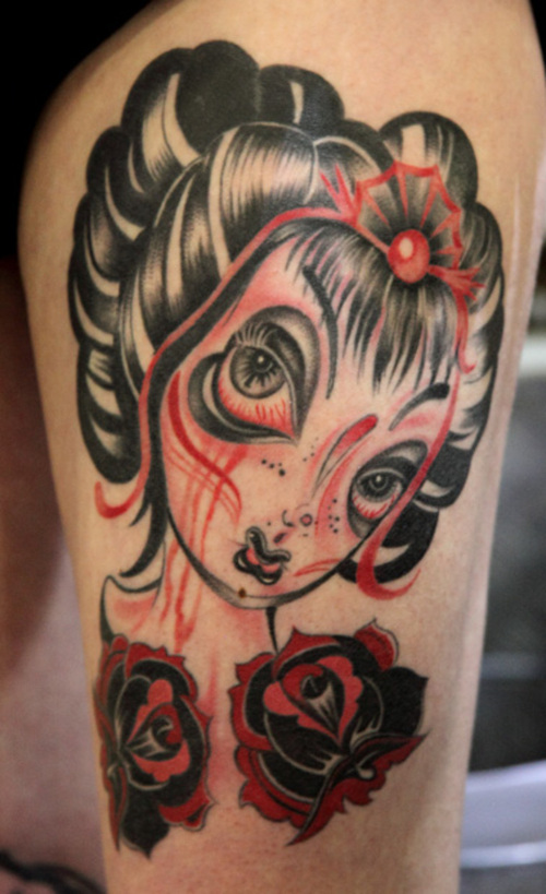 Latest Geisha Tattoo Picture For Girls