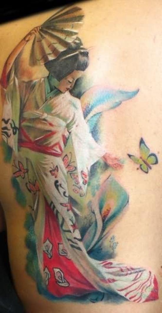 Lovely Butterfly Geisha Girl Tattoo Design For Boys