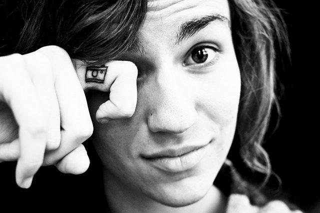 Lovely Camera Tattoo On Finger For Boys