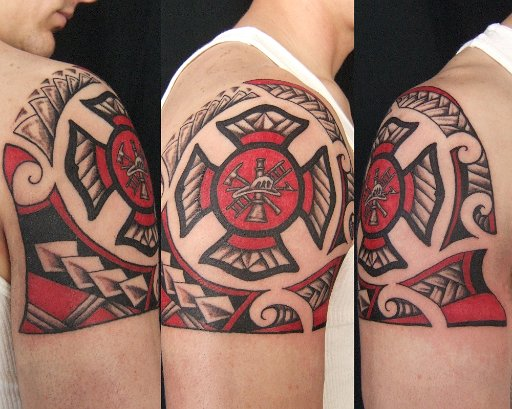 Lovely Firefighter Maltese Cross Tattoo On Shoulder For Boys