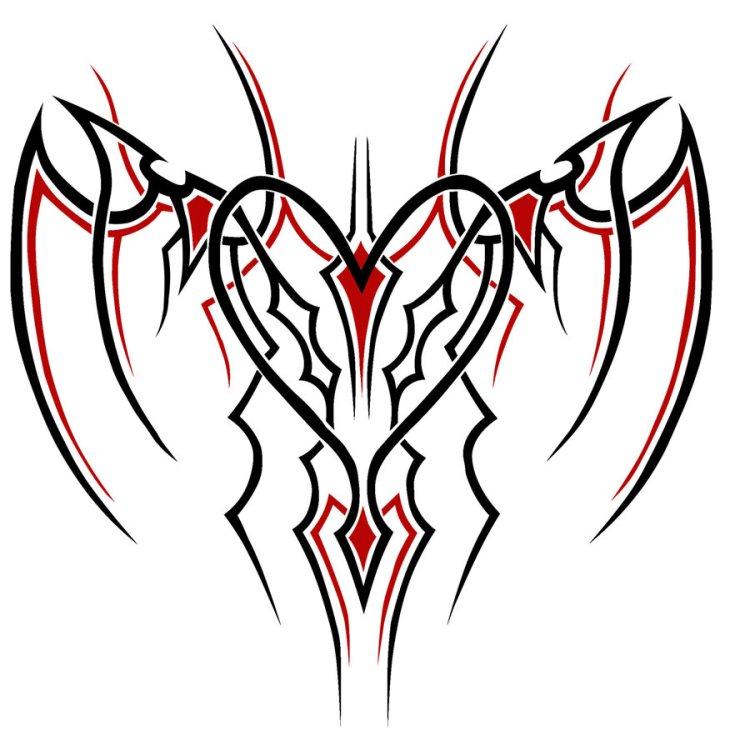 Lovely One More Tribal Heart Tattoo Design For Boys