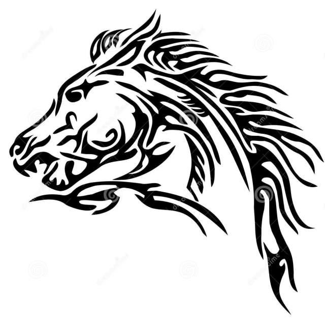Lovely Tribal Horse Tattoo Sample For Boys