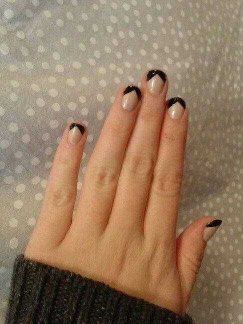 Most Amazing Black French Tip Nails With Girlish Hair Style Design