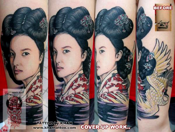 Maori Geisha Cover Up Tattoo Design For Girls