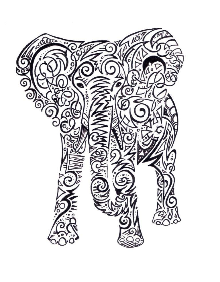 Marvelous Elephant Tattoo Design For Girls