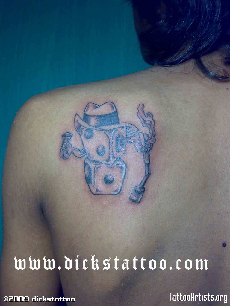 Marvelous Funny Dice Tattoo On Left Shoulder Back For Girls
