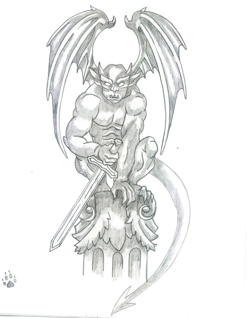 Marvelous Gargoyle With Sword Tattoo Drawing For Boys