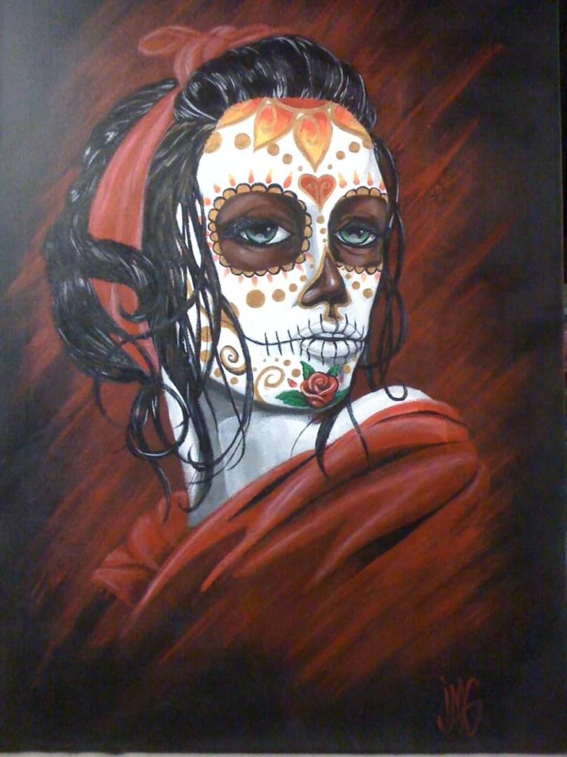Marvelous Sugar Skull Lady Dia De Los Muertos Tattoo Design For Boys