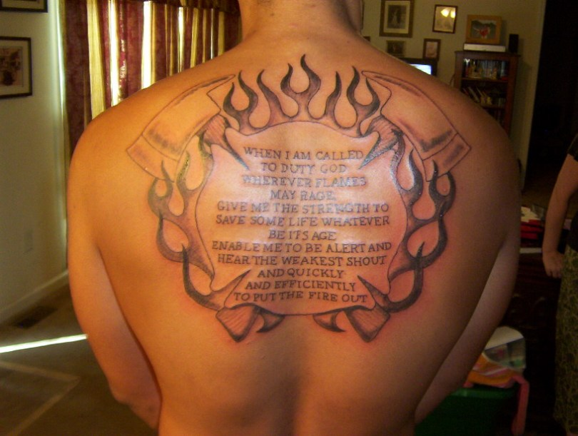Marvelous Firefighter Prayer Tattoo On Back For Boys