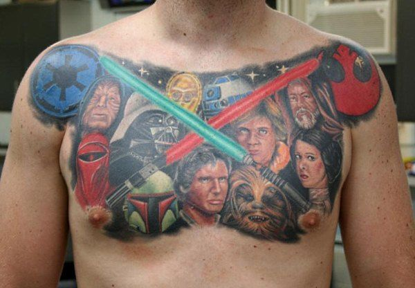 Mind Blowing Extreme Star Wars Tattoo On Chest For Boys