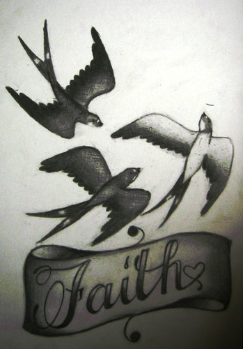 Mind Blowing Faith n Birds Tattoo Design For Girls