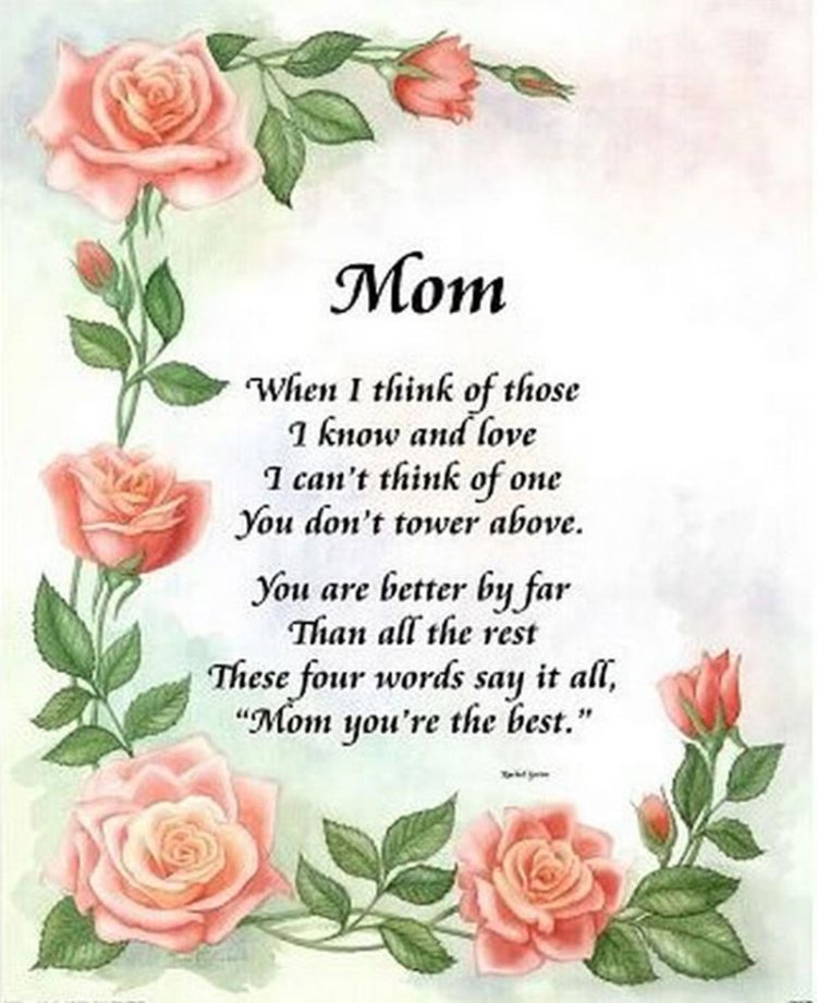Mom You're The Best Happy Mother's Day Wishes Poem Image