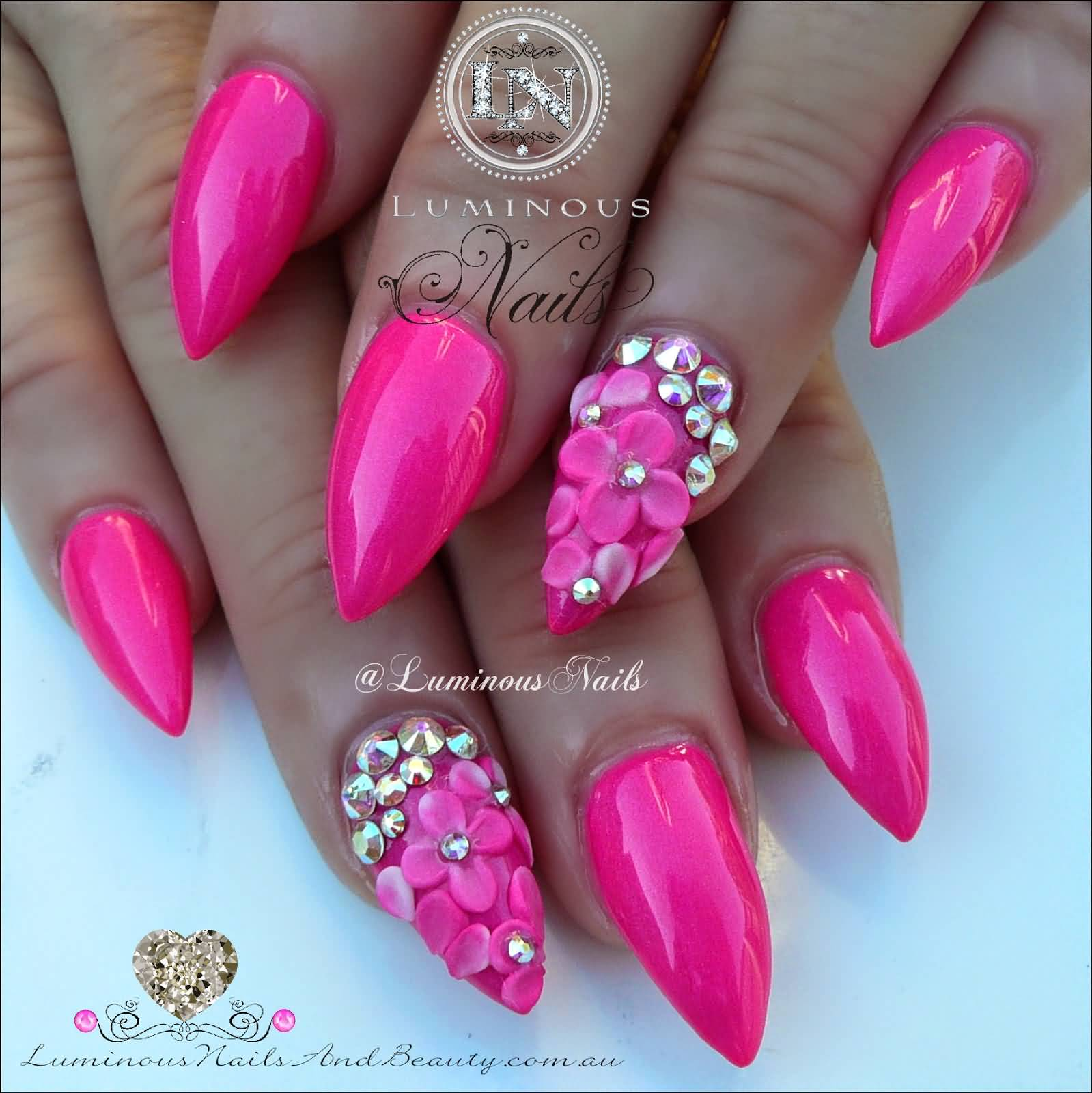 63 incredible pink acrylic nail designs and styles picsmine for Acrylic nail decoration