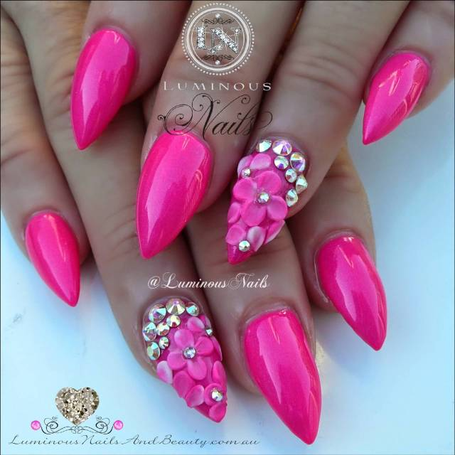 Most Amazing Sharp Nail With 3D Flower Pink Acrylic Nail Design