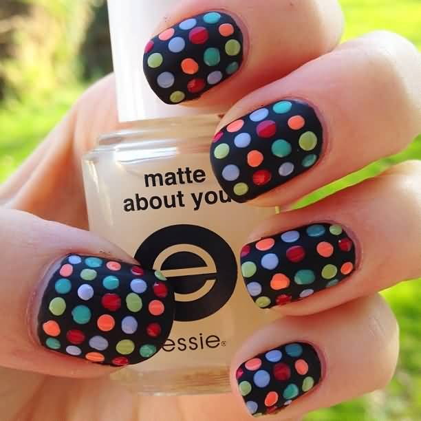 Most Beautiful Black And White Polka Dot Nail Art  With Colorful Dot