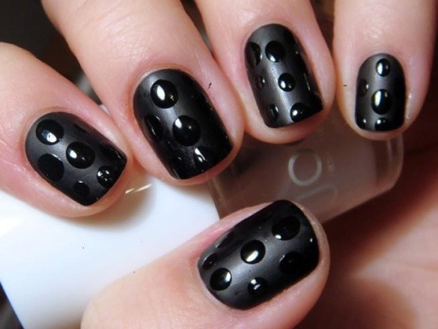 Most Beautiful Black Matte Nails With 3D Dot Design