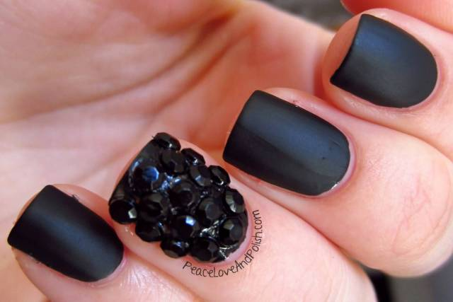 Most Beautiful Black Matte Nails With Black Crystal