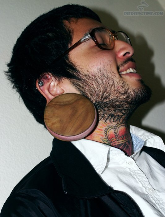 Most Beautiful Ear Stretching n Crown Tattoo On Neck For Boys