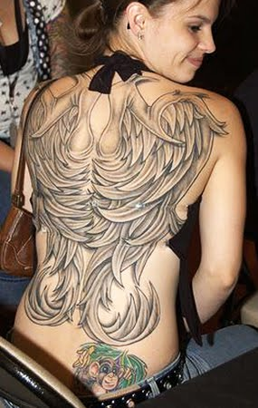 Most Beautiful Full Body Angel Wings Tattoo For Women