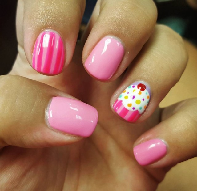 Most Beautiful Ice Cream With lining Birthday Nail Art