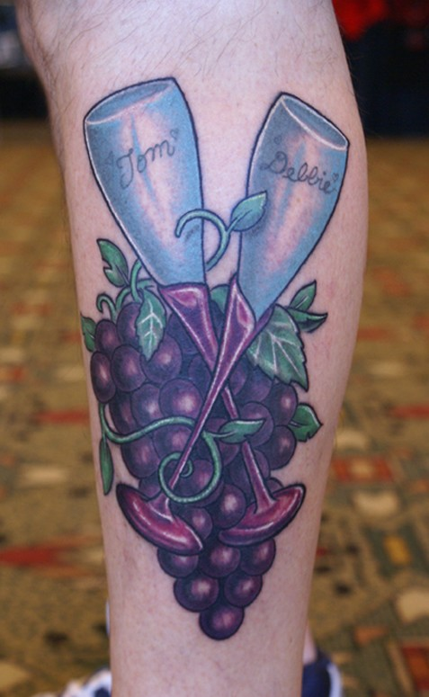 Most Beautiful Pair Of Wine Glass And Grape Tattoos On Leg For Boys