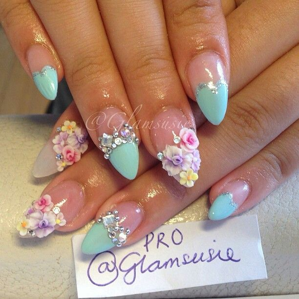 Most Beautiful Pink Nail Art And Blue Tips 3D Nail Art